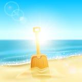 Pelle en sable sur la plage illustration libre de droits