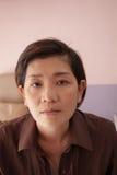 Pelle naturale del fronte di 45s asiatico anni dopo il tatt del gomito di bellezza immagini stock libere da diritti