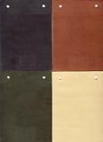 Pelle scamosciata: quattro campioni genuini Fotografia Stock