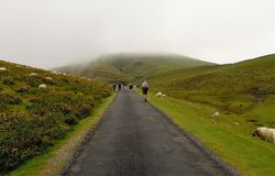 Pellegrini che camminano attraverso i Pirenei Fotografia Stock
