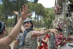 Pellegrini di dancing sul loro modo al EL Rocio, Spagna fotografia stock