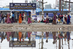 Pellegrini a Kumbh Mela 2013 Fotografie Stock