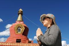 Pellegrino nel Tibet Fotografia Stock
