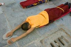 Pellegrino tibetano a Lhasa Fotografie Stock Libere da Diritti