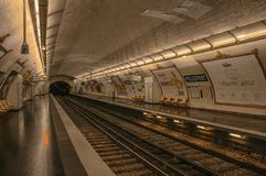 """Pelleport subway station platform in Paris. Paris, France - July 08, 2017. Pelleport subway station platform in Paris. Known as the """"City of Light royalty free stock photo"""