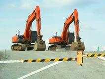 Pelles rétro de construction de routes images stock