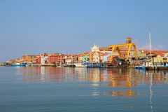 Pellestrina, on the south end of the island Lido di Venezia, Italy. The village Pellestrina, on the south end of the island Lido di Venezia. In the lagoon of stock images