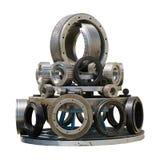 Pellet ролики мельницы и плашки кольца изолированные на белой предпосылке Стоковые Фото