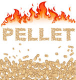 Pellet background with fire. Pellet  with fire on white background Stock Photo