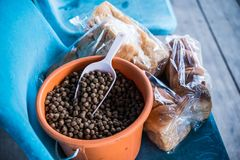 Pellet,food for fish Stock Image
