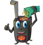 Pellet stove cartoon Royalty Free Stock Photo