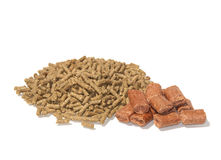 Pelleted horse feed and treats. On white Stock Image