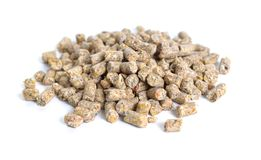 A pelleted ration designed for chicken. Isolated on white backgr. Ound Stock Images