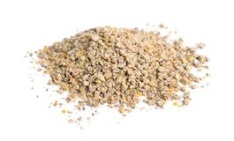 A pelleted ration designed for chicken. Isolated on white background.  stock photo