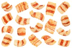 Pelleted salted snack bacon collection. Pelleted salted snack bacon set isolated on white background Stock Photos