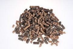 Pellets- biomass. Different kind of pelles on a white background Royalty Free Stock Photography