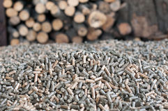 Pellets- biomass. Different kind of pellets -selective fokus on the heap Stock Photos