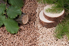 Pellets- biomass. Two kind of pellets and materilas pellets made Royalty Free Stock Image