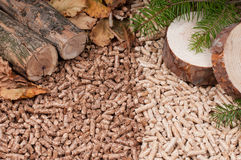 Pellets- biomass. Two kind of pellets and materilas pellets made- selective focuson the front Royalty Free Stock Images