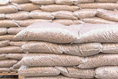 Pellets- biomass in bag Stock Photos