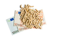 Pellets with euro bills Royalty Free Stock Photo