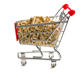 Pellets in shopping cart Royalty Free Stock Images