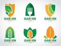 Pellez le logo pour la scénographie agricole et faisante du jardinage de vecteur Image stock