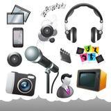 Pellicola ed icone ed elementi di media Immagini Stock