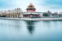 Pelliculage lent de porte d'hiver de la tour faisante le coin du musée de palais dans Pékin, Chine images stock