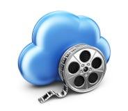 Pellicule cinématographique de stockage en nuage. icône 3D  Photographie stock