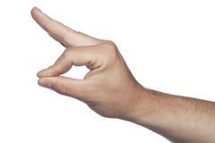 Pellizque la mano hecha gesto en un fondo blanco Imagenes de archivo