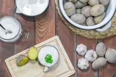 Pellkartoffeln, Knoblauch-Bad, Milch und Salz lizenzfreies stockfoto