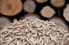 Pelllets- biomass. Oak pellets infront wooden wall Stock Images