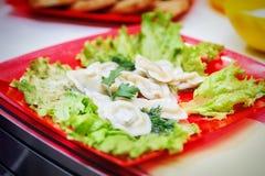 Pelmeni 饺子,馄饨 免版税图库摄影