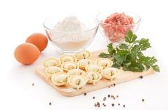 Pelmeni caseiro com ingredientes Foto de Stock Royalty Free