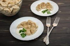 Pelmeni - cocina rusa, bolas de masa hervida de la carne Imagen de archivo