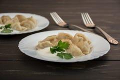 Pelmeni - cocina rusa, bolas de masa hervida de la carne Foto de archivo libre de regalías