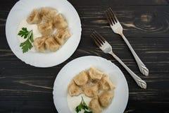 Pelmeni - cuisine russe, boulettes de viande Photographie stock libre de droits