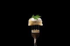 Pelmeni - cuisine russe, boulettes de viande Photo stock