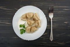 Pelmeni - cuisine russe, boulettes de viande Image stock