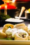 Pelmeni (Dumplings) with Fennel and Smetana (Sour Cream) Stock Images