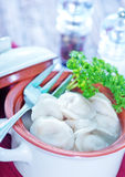 Pelmeni with meat Stock Photo