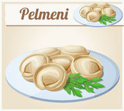 Pelmeni Meat dumplings. Cartoon vector icon Stock Image
