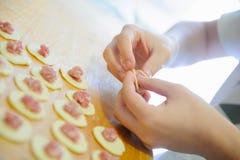 Pelmeni preparation Stock Images