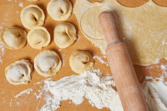 Pelmeni preparation on kitchen Royalty Free Stock Photo