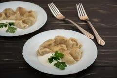 Pelmeni - Russian cuisine, meat dumplings Stock Photos