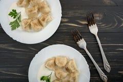 Pelmeni - Russian cuisine, meat dumplings Stock Photo