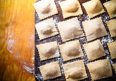 Pelmeni - Russian ravioli. Cooking process. Toned Stock Images