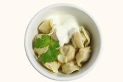 Pelmeni - Russisch voedsel Royalty-vrije Stock Afbeelding
