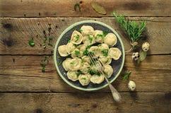 Pelmeni russo tradizionale, ravioli, gnocchi con carne sulla tavola di legno con farina, prezzemolo, uova di quaglia, pepe Immagine Stock Libera da Diritti